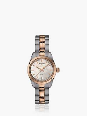 Tissot T1010102211101 Women's PR 100 Automatic Date Bracelet Strap Watch, Silver/Rose Gold