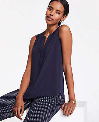 Ann Taylor Split Neck Shell