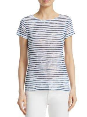 Majestic Filatures Stripe Button-Back Linen Tee