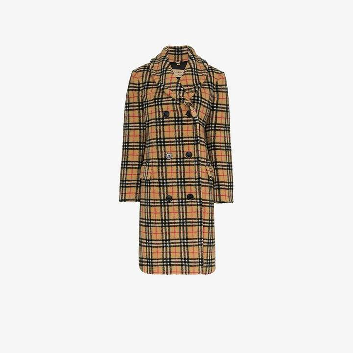 double-breasted check faux shearling coat