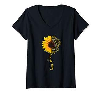 Womens ASL American Sign Language Sunflower Share the Love Gift Top V-Neck T-Shirt