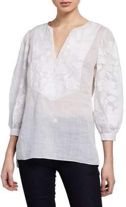 Elie Tahari Serilda Embroidered 3/4-Sleeve Linen Blouse