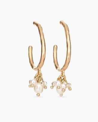 White Stone Drop-Hoop Earrings