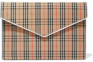 Burberry Leather-trimmed Checked Cotton-drill Clutch - Beige