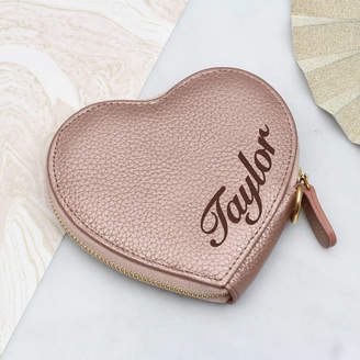 85cdf360ea9c Hurleyburley Personalised Name Luxury Leather Heart Purse