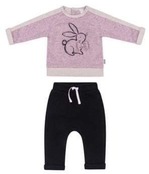 Petit Lem Baby Girl's Two-Piece Bunny Sweatshirt & Joggers Set