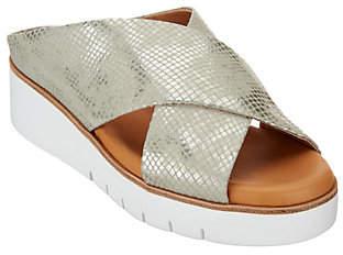 Corso Como Leather Cross-Strap Sandals -Brunna