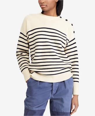 Polo Ralph Lauren Button-Shoulder Wool Sweater