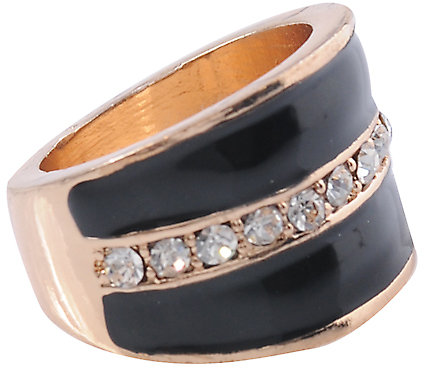 Lacquered and Rhinestone Strip Ring