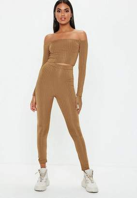 Missguided Rust Shiny Ribbed Leggings
