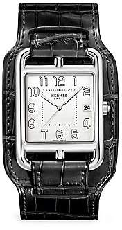 HERMÃS Women's Cape Cod Matte Black Stainless Steel & Leather Strap Watch