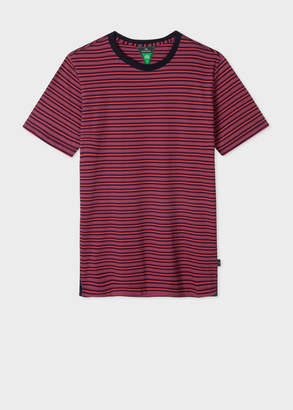 Paul Smith Men's Red And Navy Stripe Organic-Cotton T-Shirt