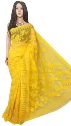SHRI BALAJI SILK & COTTON SAREE EMPORIUM Ethnic Yellow Handloom Dhakai Jamdani Sari Full weaving work Bengal Women sari Indian Festive saree 105 6