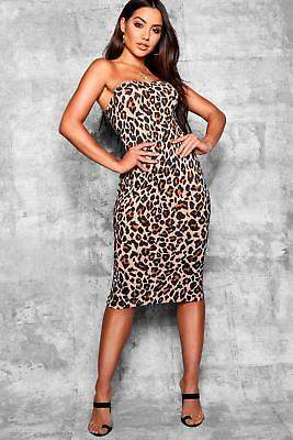 boohoo NEW Womens Leopard Print Bandeau Fitted Midi Dress in Polyester