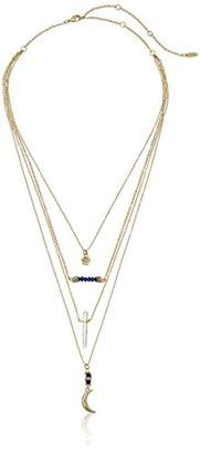 Ettika Multi-Layered Gold with Sodalite and Charms Chain Necklace