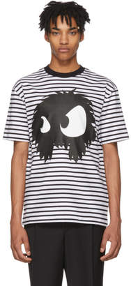 McQ Black and White Striped Mad Chester T-Shirt