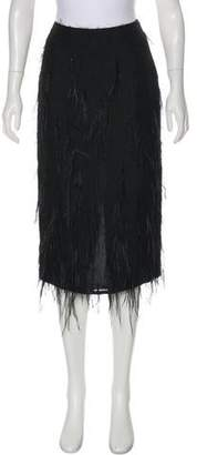 Jason Wu Midi Feather-Accented Skirt