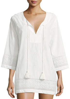 Kate Spade Isal Vista V-Neck Embroidered Eyelet Coverup Tunic