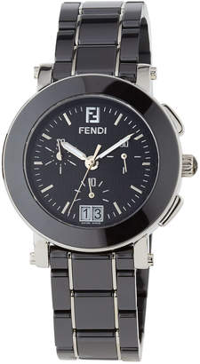 Fendi 38mm Ceramic Chronograph Watch, Black