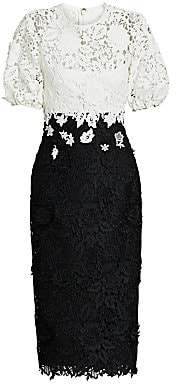 Lela Rose Women's Two-Tone Floral Lace Cocktail Dress