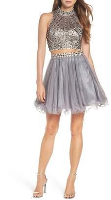 Blondie Nites Embellished Two-Piece Skater Dress