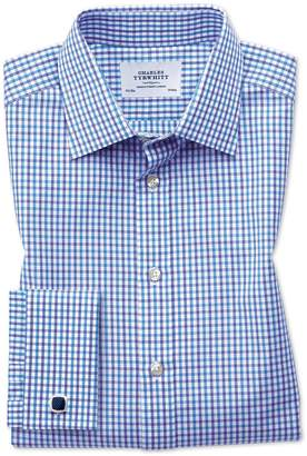 Charles Tyrwhitt Classic Fit Two Color Check Blue Cotton Dress Shirt French Cuff Size 17.5/34