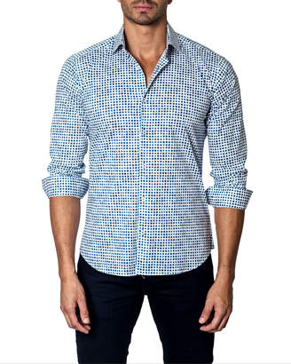 Jared Lang Men's Micro Square-Print Long-Sleeve Button-Down Shirt