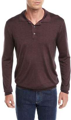 Canali Men's Long-Sleeve Wool/Silk Polo Shirt, Burgundy
