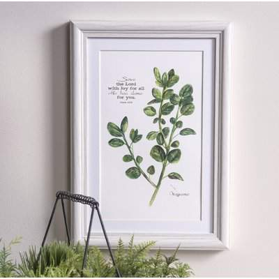 Wayfair 'Serve The Lord Oregano Herb' Framed Graphic Art Print