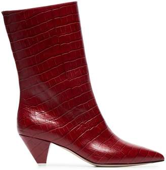 ATTICO croc-embossed low-heeled leather boots
