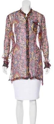 Dries Van Noten Semi-Sheer Button-Up Top
