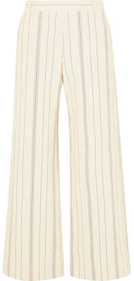 See by Chloe Pinstriped Cotton-blend Wide-leg Pants - Ivory