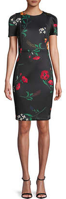 Calvin Klein Puff Short-Sleeve Floral Scuba Sheath Dress