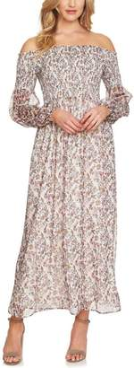 CeCe Abbey Smocked Off the Shoulder Dress