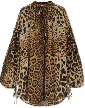 Saint Laurent Oversized Leopard-print Silk-georgette Blouse - Leopard print