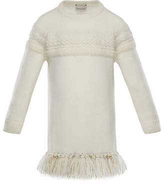 Moncler Mixed-Knit Sweater Dress w/ Metallic Tassel Hem, Size 8-14