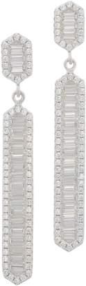 Diamonique Baguette Linear Dangle Earrings Sterling Silver