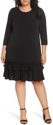 ECI Ruffle Hem Shift Dress