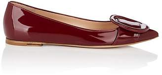 Gianvito Rossi Women's Ruby Buckle-Detailed Patent Leather Flats