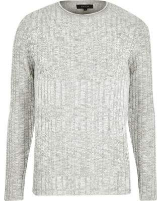 River Island Mens Big and Tall stone ribbed sweater