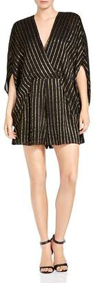 Halston Metallic Striped Faux-Wrap Romper