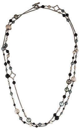David Yurman Onyx, Hematite & Pearl Elements Necklace $995 thestylecure.com