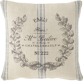 French Laundry Home Marine Stripe Paris Crest Pillow