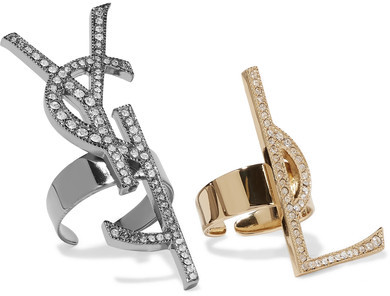 Saint Laurent Saint Laurent - Set Of Two Gold And Gunmetal-tone Crystal Rings - one size