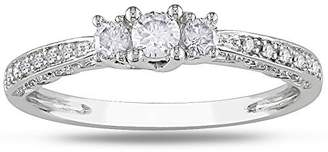 Trilogy JeenJewels 0.50 Carat Inexpensive Engagement ring with Round cut Diamond on 14K White gold