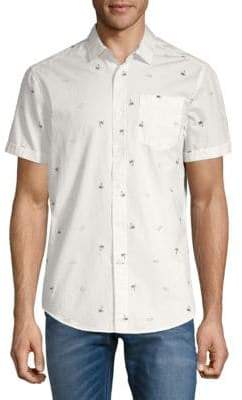 Report Collection Sunglass-Print Cotton Button-Down Shirt