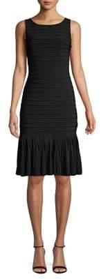 Adrianna Papell Ottoman Drop-Waist Flounce-Hem Dress