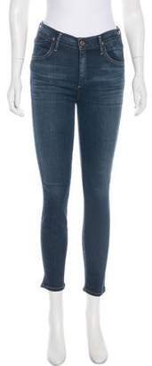 Gold Sign Mid-Rise Skinny-Leg Jeans