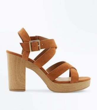 New Look Tan Suedette Strappy Wooden Sole Sandals