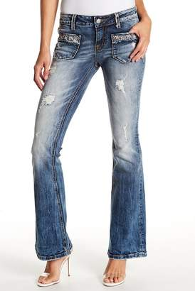 Miss Me Embellished & Distressed Midrise Flare Jeans